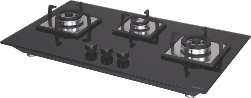 Elica 3 burner glass top gas stove